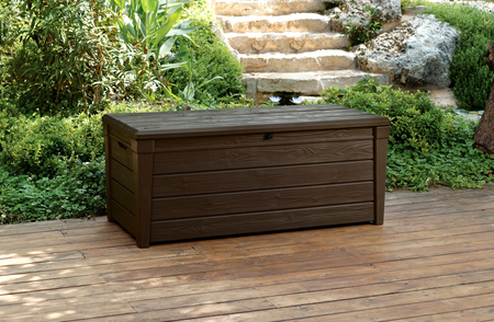 storage bench box large 454l keter resin furniture lockable waterproof