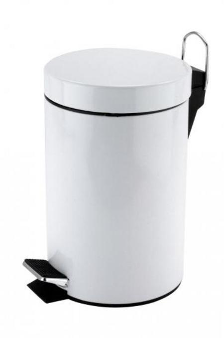 View Item 3 LITRE PEDAL BIN. COMPACT & PORTABLE. STAINLESS STEEL. CARRY HANDLE. FOOT LEVER
