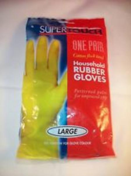 View Item COMFORT INTERIOR RUBBER GLOVES. GRIPPED. COTTON FLOCK LINED. LIGHTWEIGHT. 2 PAIR