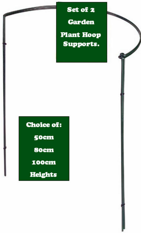 View Item GARDEN PLANT HOOP SUPPORTS SET OF 2 IN CHOICE OF 50CM, 80CM OR 100CM HEIGHTS