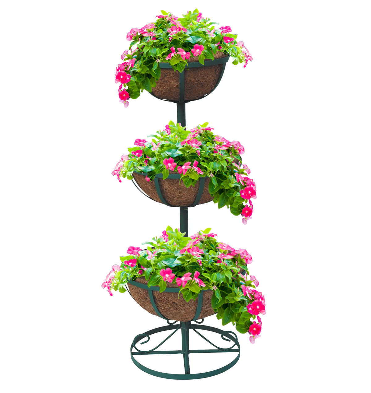 3 Tier Planter Stand with Coco Liners Garden Flower Fountain Weatherproof I