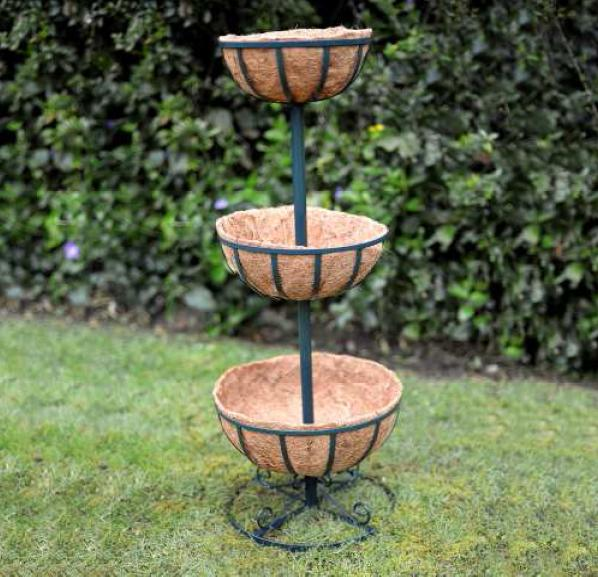 3 Tier Planter Stand With Coco Liners Garden Flower