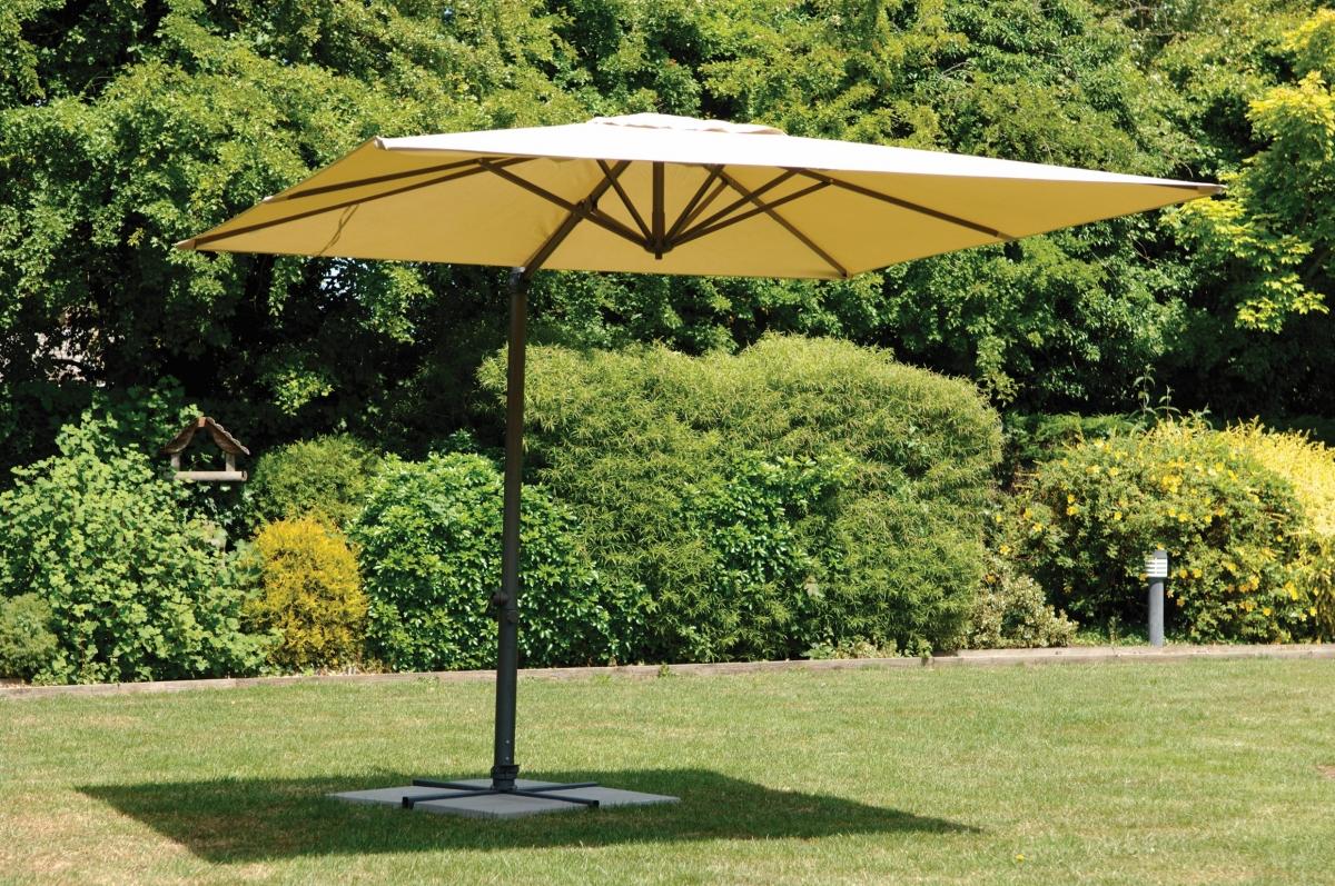 3m banana beige parasol black aluminium frame garden sun shade leans