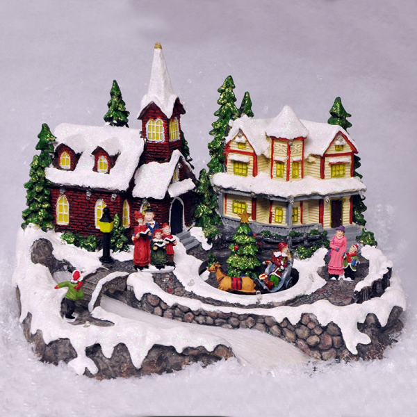 Animated christmas village scene ornament lights sounds for Animated christmas decoration
