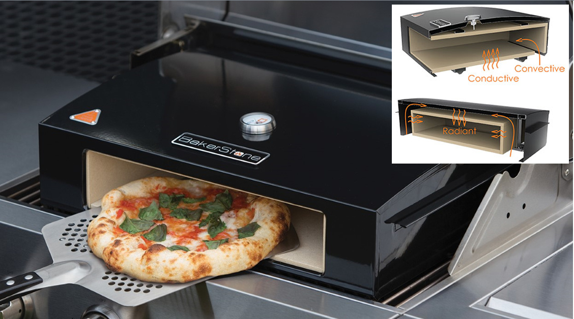 bakerstone ceramic pizza box stone baked sits on gas bbq makes large 12 39 39 ebay. Black Bedroom Furniture Sets. Home Design Ideas