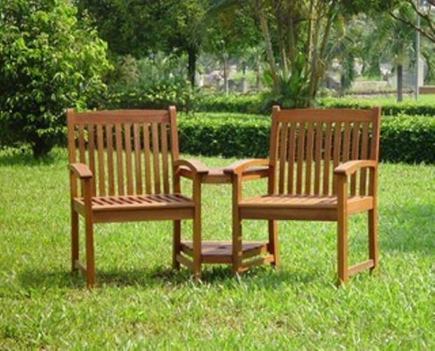 Garden Love Seat Companion Bench With Central Table Patio
