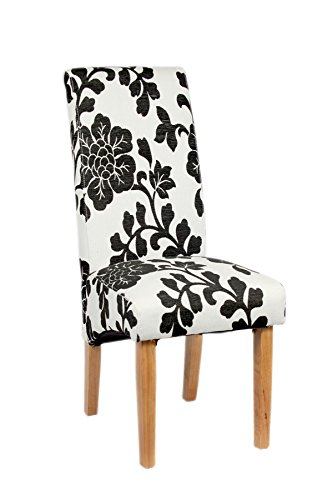 Black Floral Dining Chair Fabric Light Oak Legs  : A2173 from ebay.co.uk size 333 x 500 jpeg 24kB