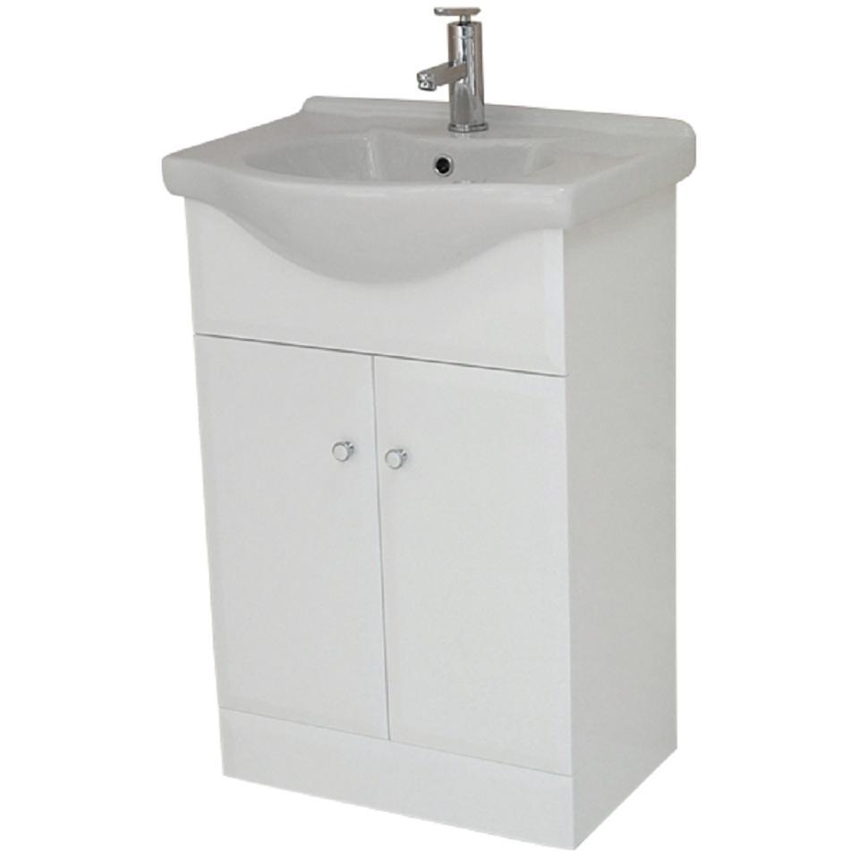 Bathroom vanity unit white gloss double door cabinet no - White gloss bathroom vanity unit ...
