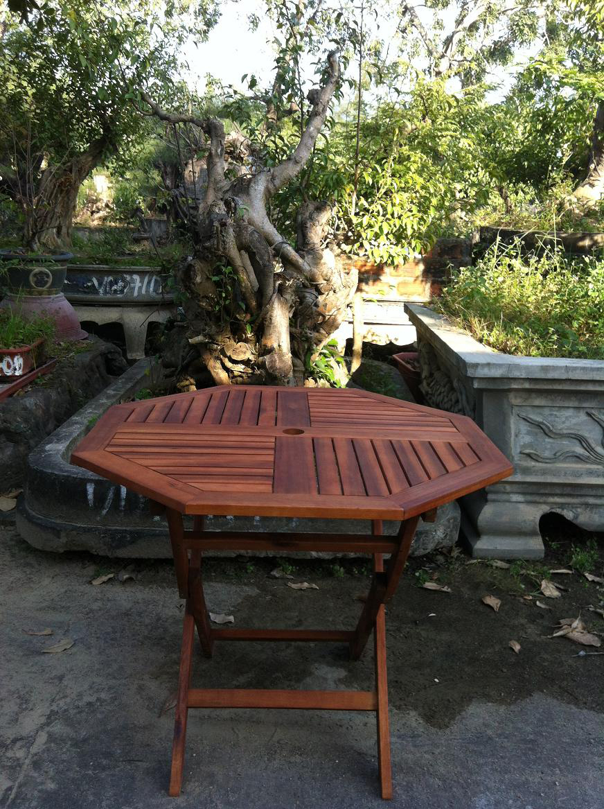 Garden Wooden Table Hard Wood Patio Bistro Furniture Octagonal Top Folding L