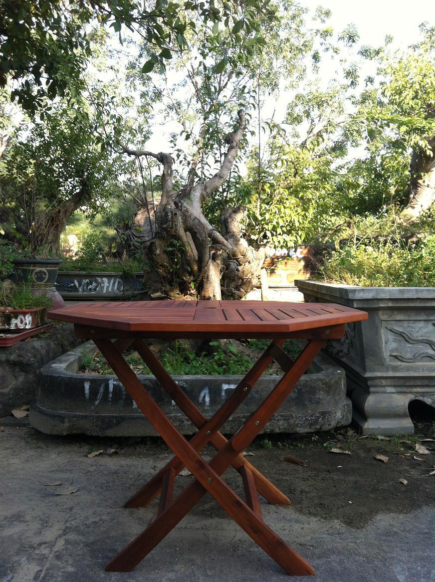 table hard wood patio bistro furniture octagonal top folding legs