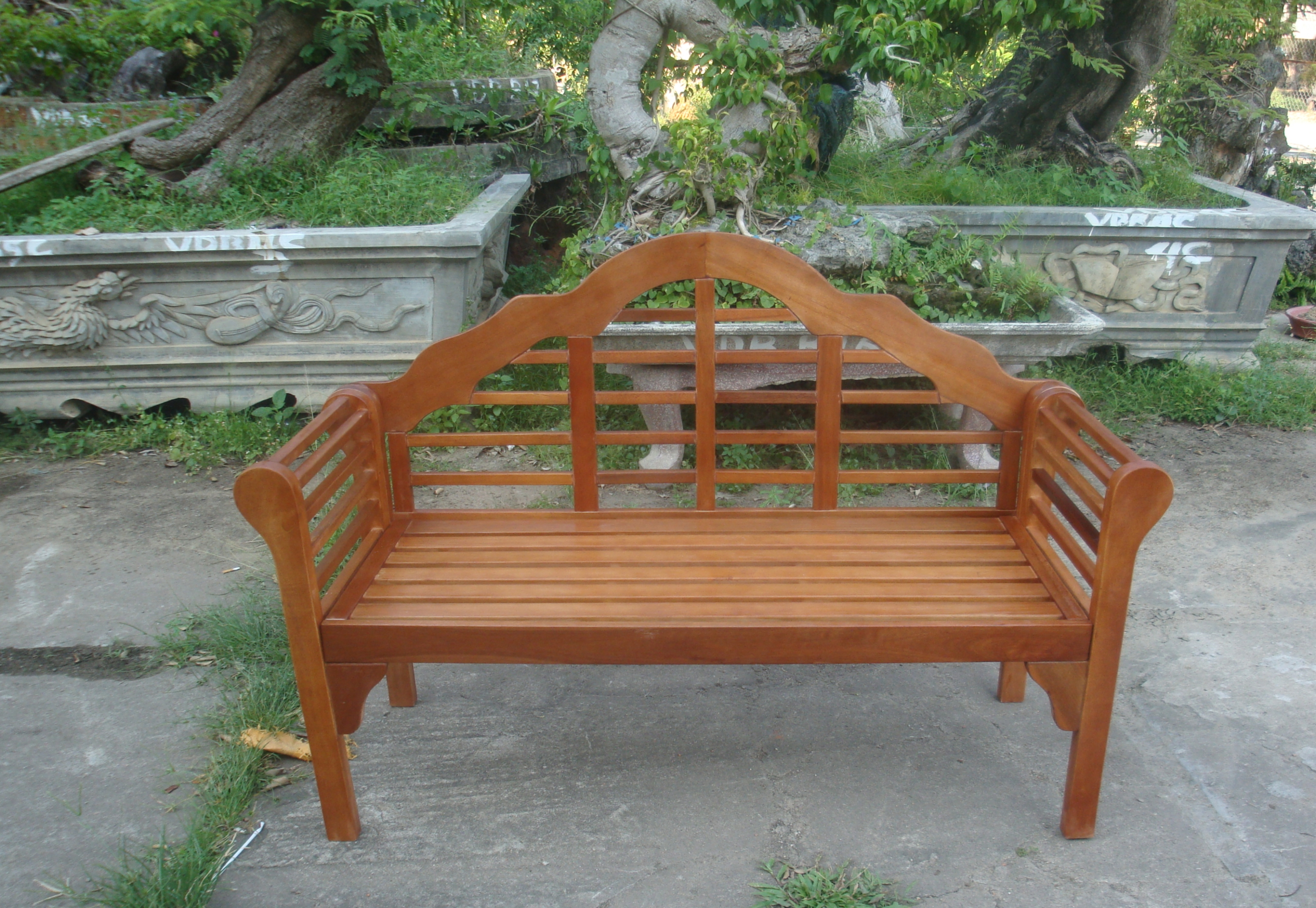 Garden Bench 2 Seater Wooden Acacia Patio Furniture Seating Area Curved Back Ebay