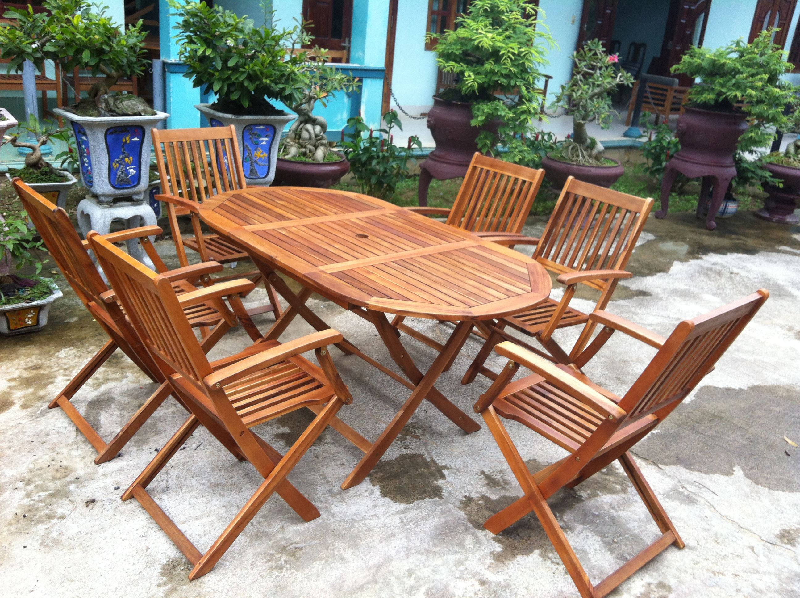 150cm Wooden Garden Table With 6 Chairs Solid Hard Wood