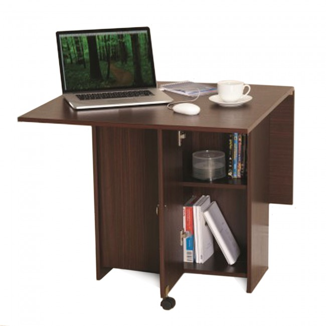 Folding Kitchen Dining Table Storage Desk Dark Walnut