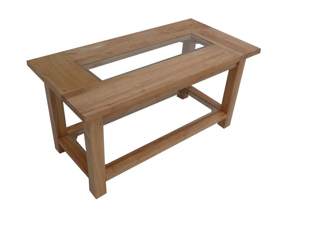 solid rubberwood coffee table eldridge range glass shelf center natural ebay