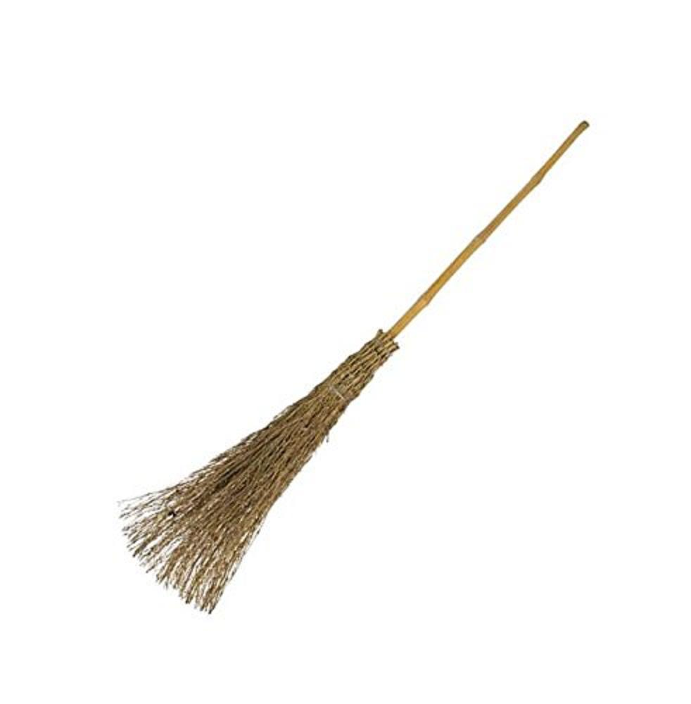 Bamboo Wood Besom Broom Sweep Garden Leaves Traditional Witches Broomstick New Ebay