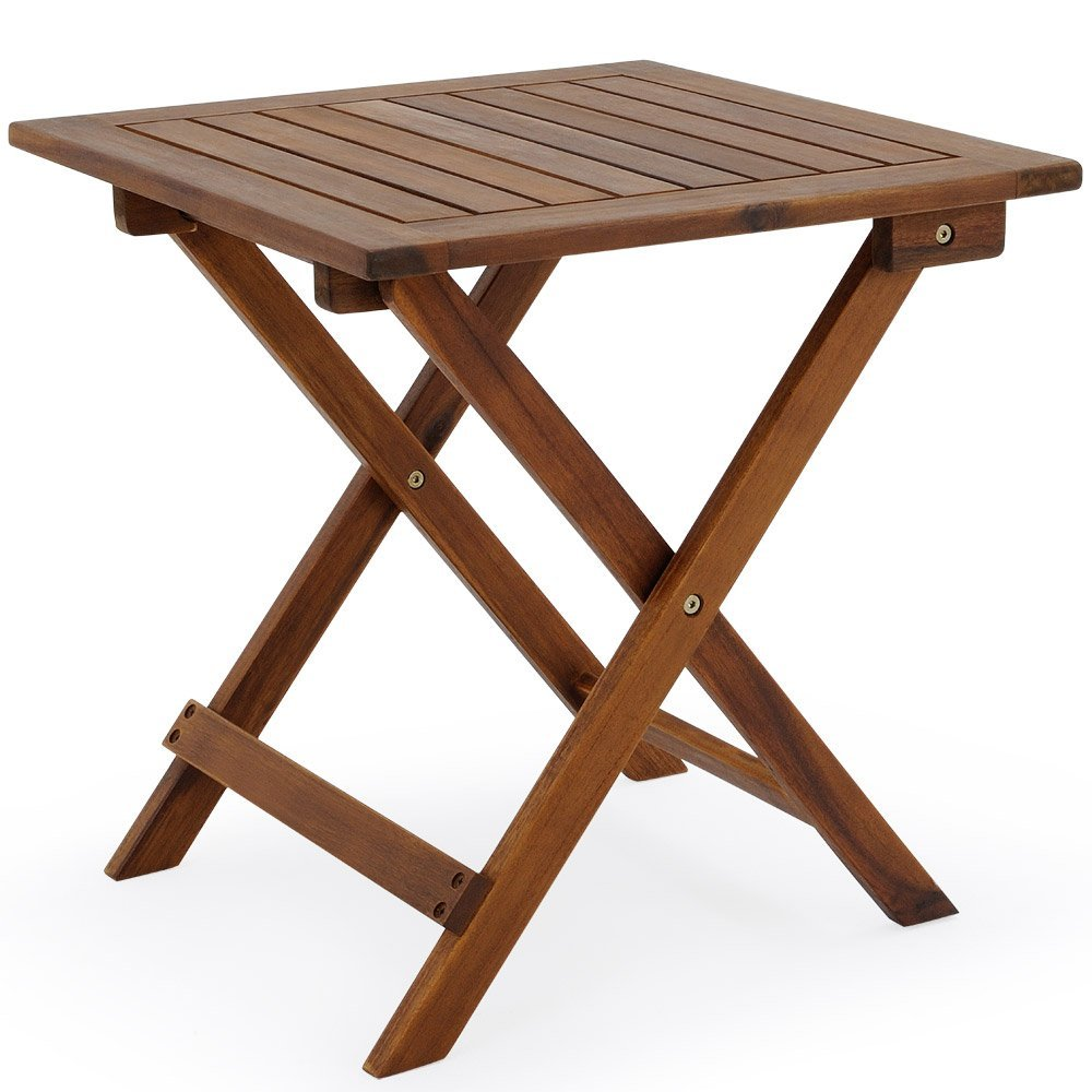 Low Snack Folding Table Acacia Wood Small Bistro Coffee