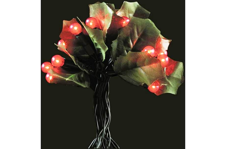 60 Holly And Berry LED Christmas Tree Lights (Red) Indoor