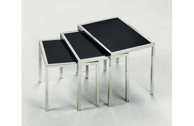 NEW BLACK GLASS AND CHROMED METAL NEST OF 3 TABLES Enlarged Preview