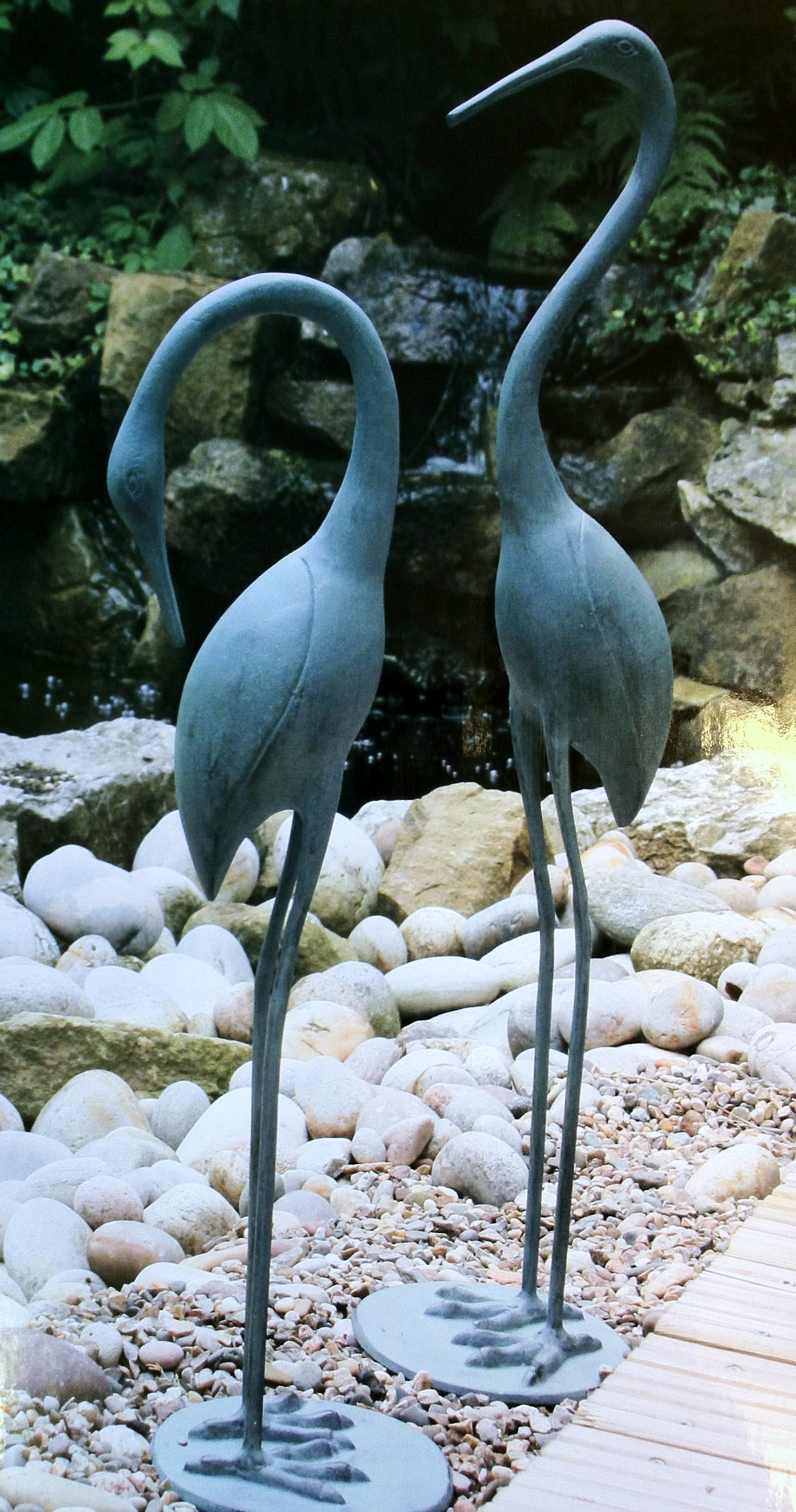 New ornamental crane birds heron bermuda garden ornament for Ornamental fish garden ponds