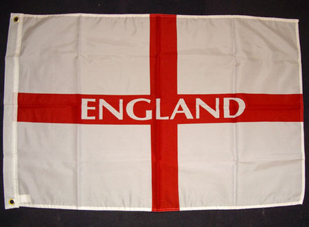 View Item ENGLAND FLAG 5ft x 3ft. ST GEORGE FLAG. CAR, HOUSE, WHITE AND RED. FOOTBALL. NEW