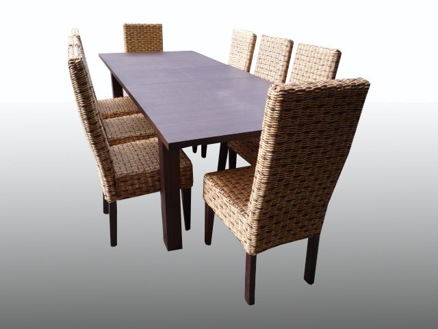 Walnut extending dining table 8 rattan wicker chairs ebay for Dining room table with wicker chairs