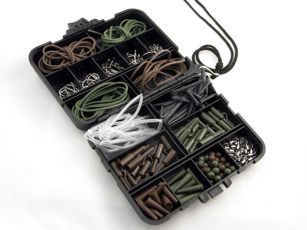 Carp Fishing Tackle Box Bundle hooks lead safety clips
