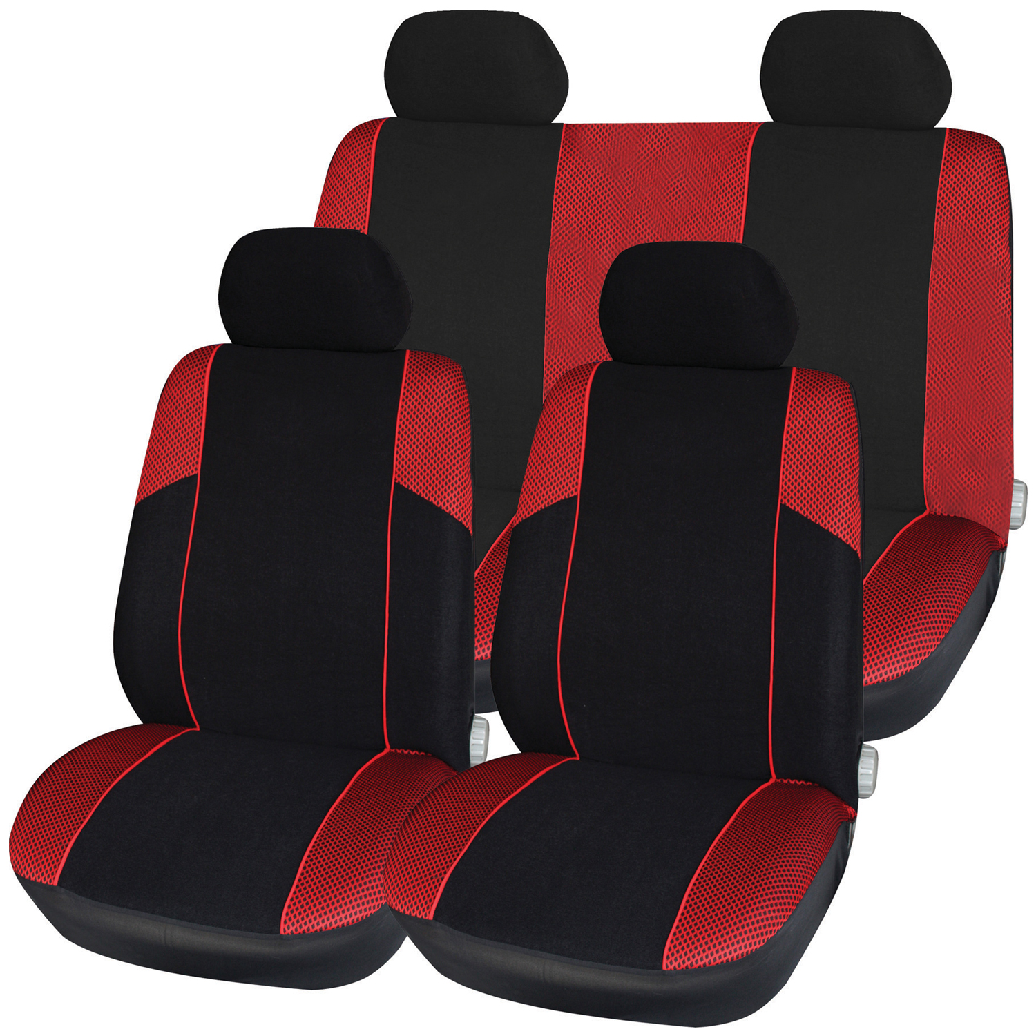 new mesh full car seat cover set black red universal fit protective ebay. Black Bedroom Furniture Sets. Home Design Ideas