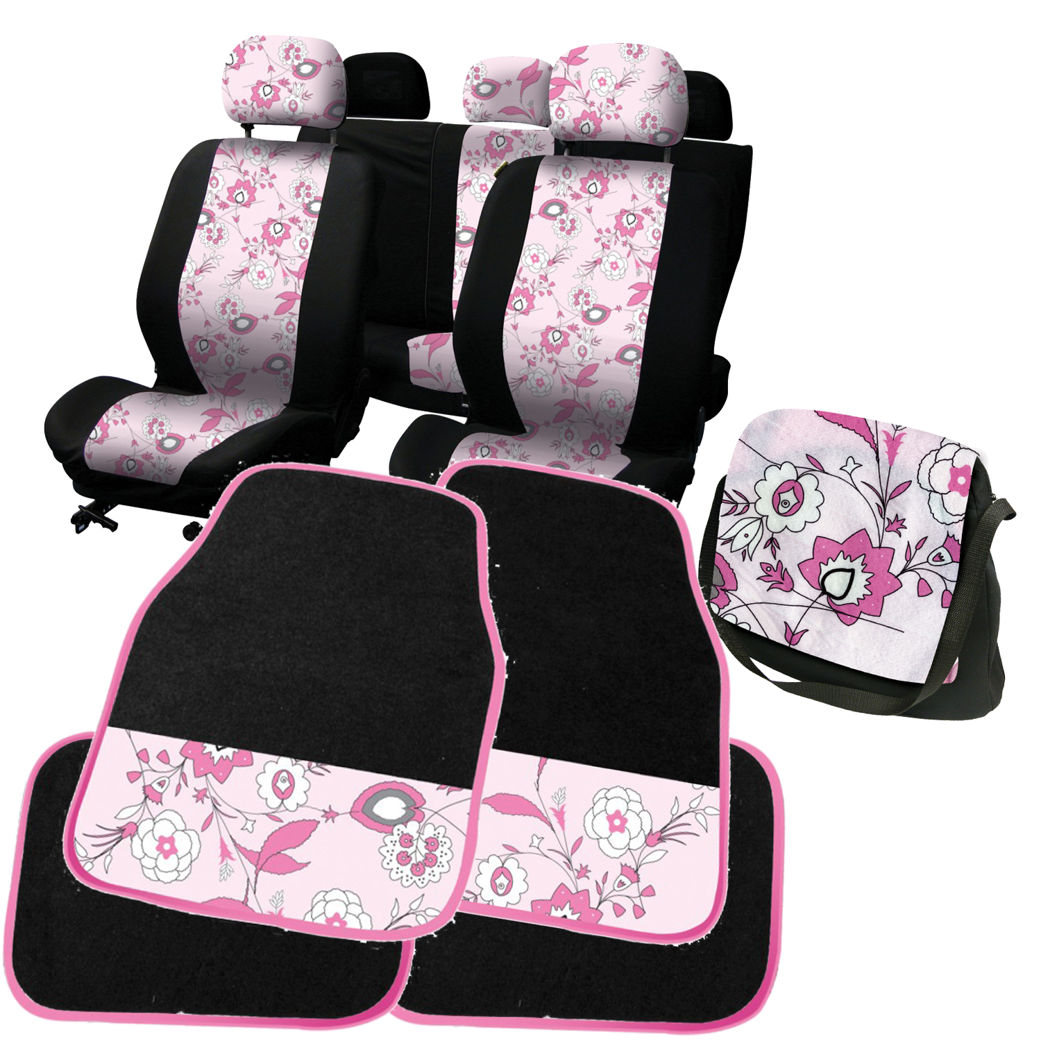 carpoint pink flower car accessory set seat covers floor mats girls car gift. Black Bedroom Furniture Sets. Home Design Ideas