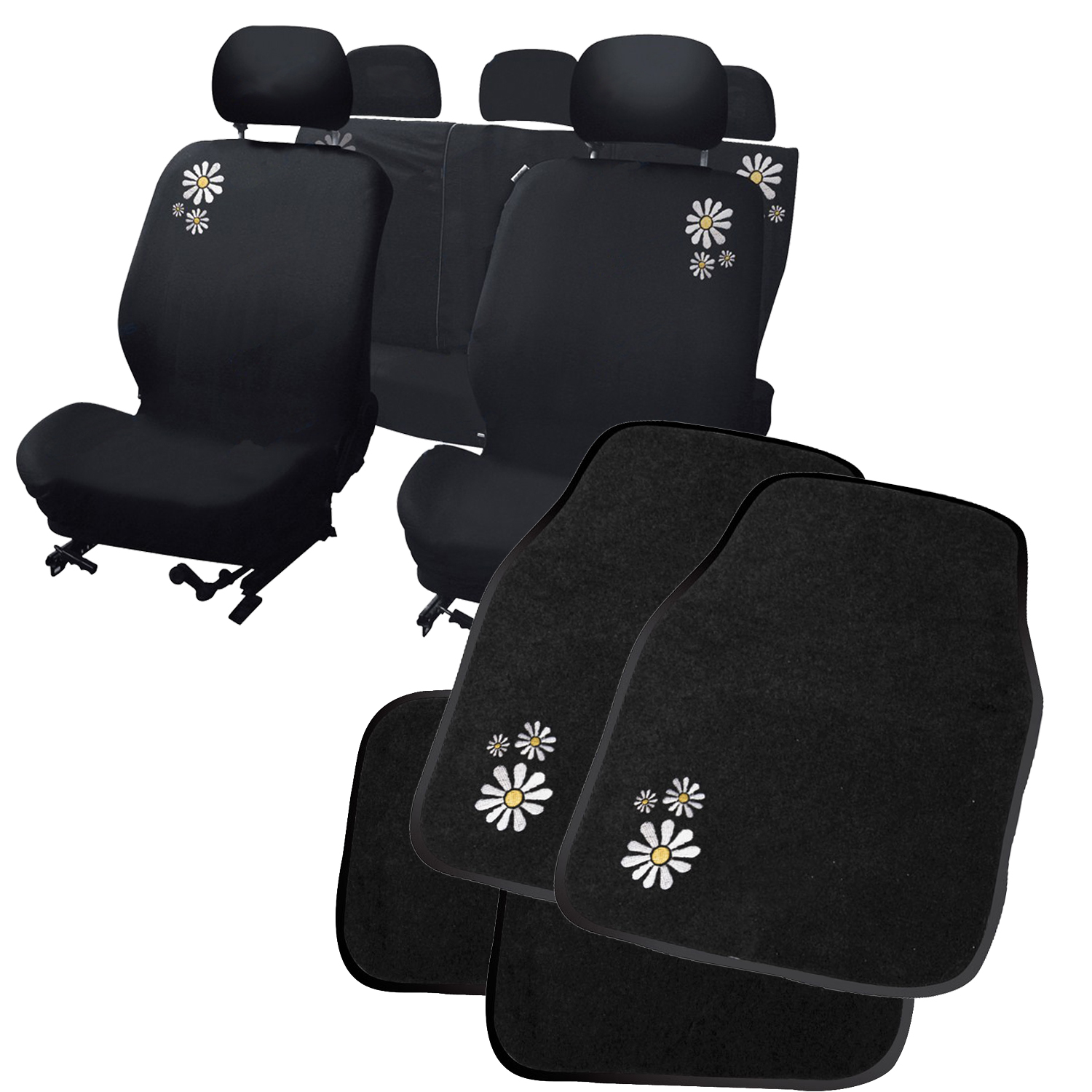 Carpoint Daisy Flower Car Seat Covers Amp Floor Mat Set