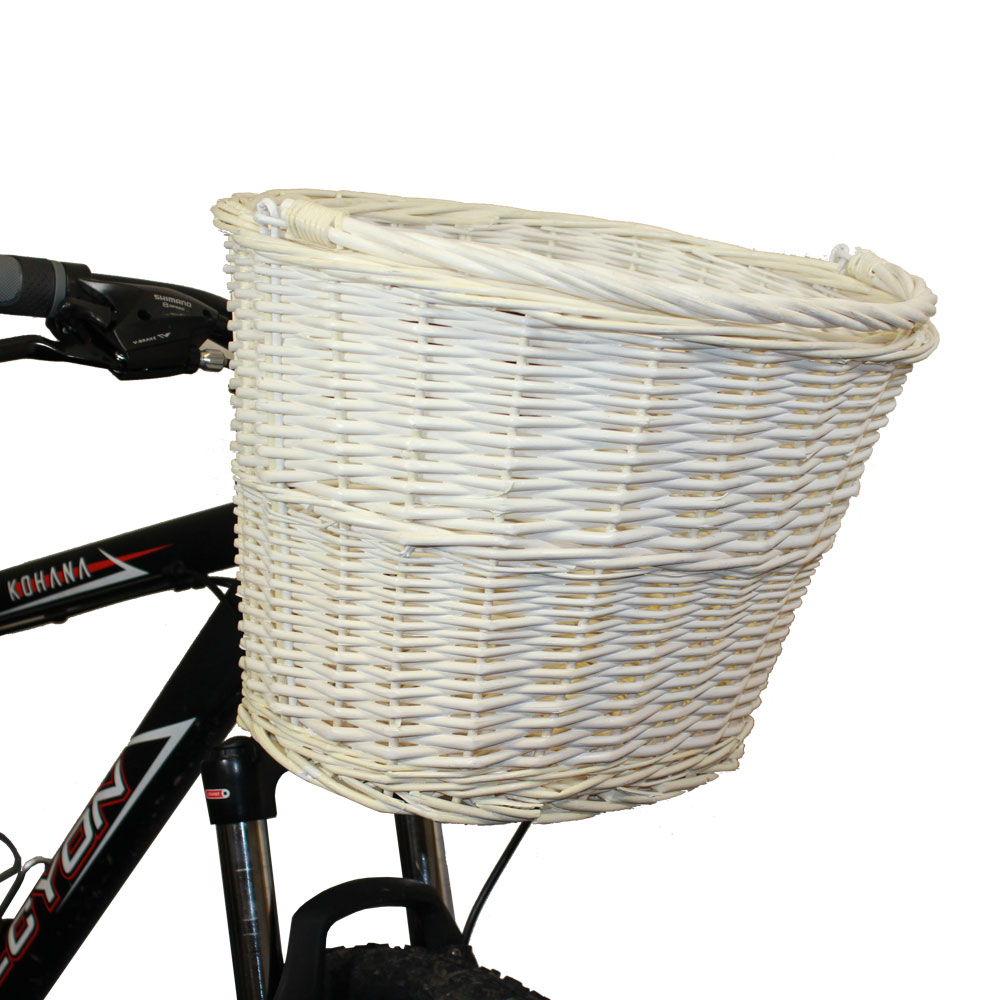 Hand Woven Wicker Cycle Bike Basket Quick Release Bracket Vintage White Cream Enlarged Preview