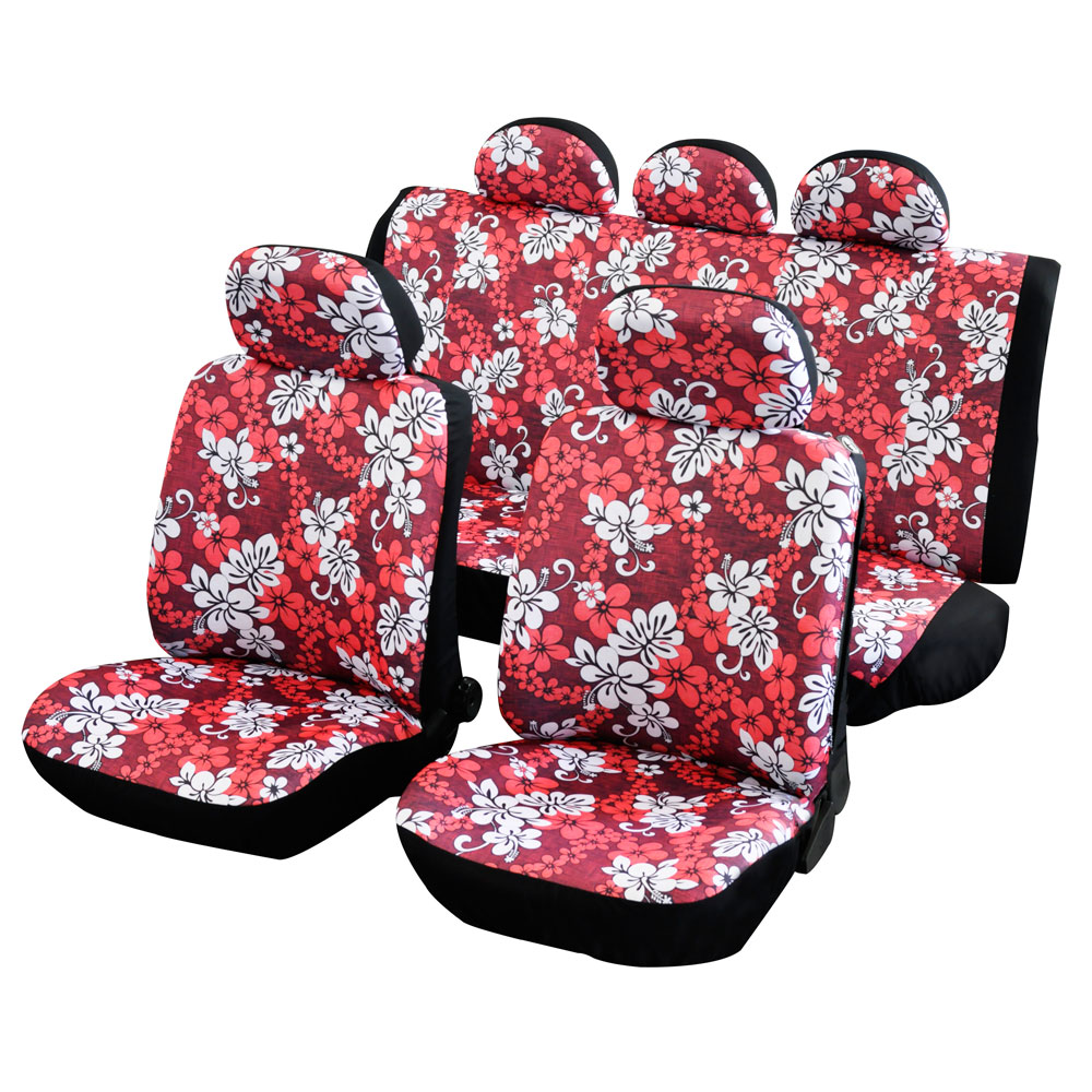 Summer Flower Design Car Seat Covers Full Set Red Hawaiian