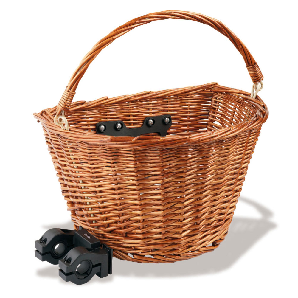 Hand Woven Wicker Cycle Bike Basket with Quick Release Bracket and Handle Brown Enlarged Preview