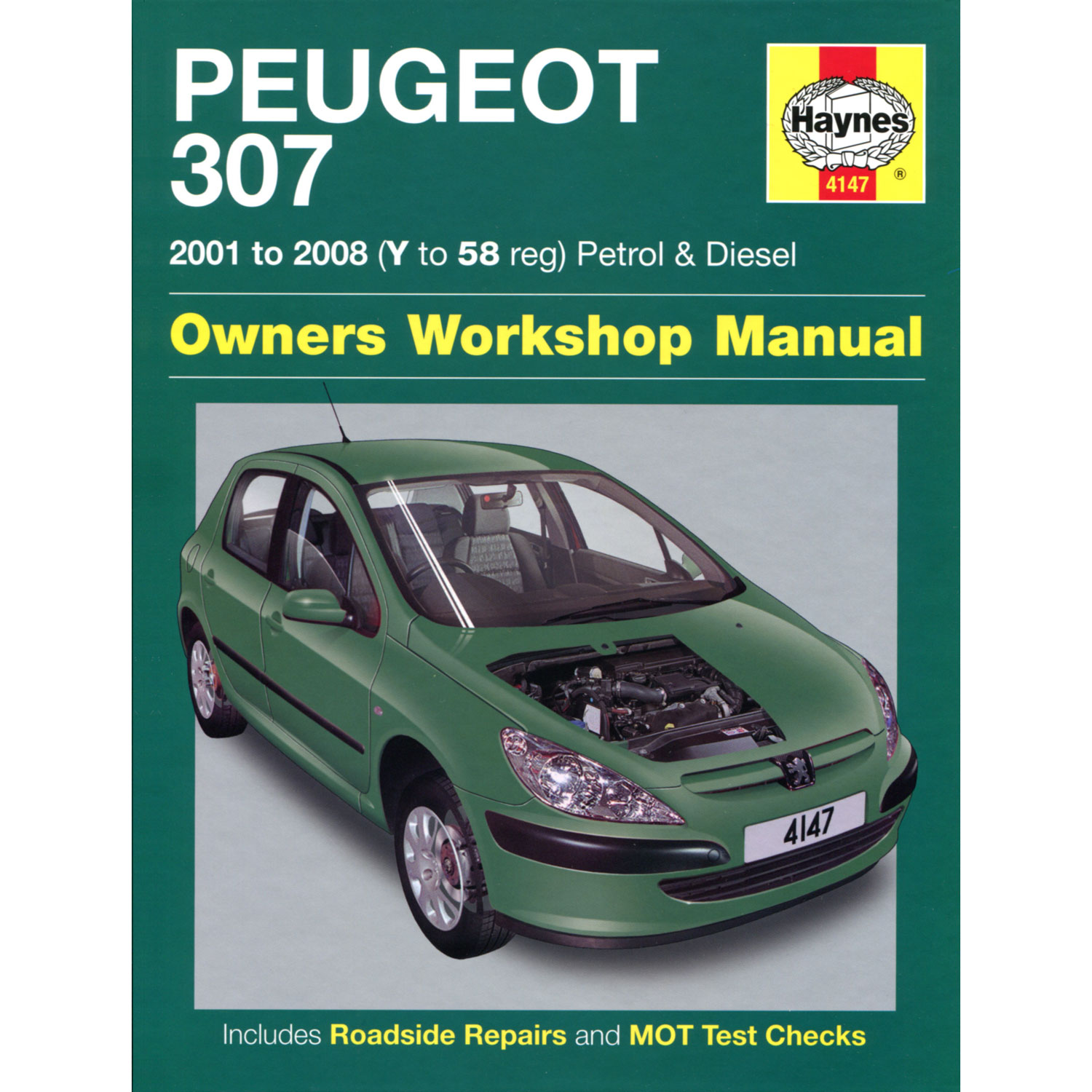 new haynes manual peugeot 307 01 08 car workshop repair. Black Bedroom Furniture Sets. Home Design Ideas
