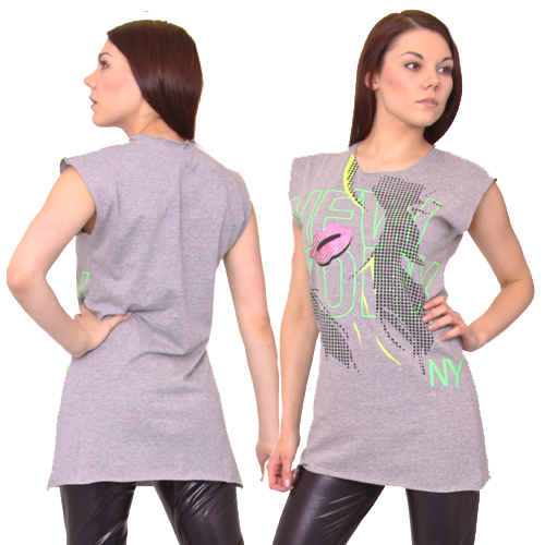 NEW WOMENS GREY PRINT LADIES OVERSIZED TSHIRT DRESS 12 Preview