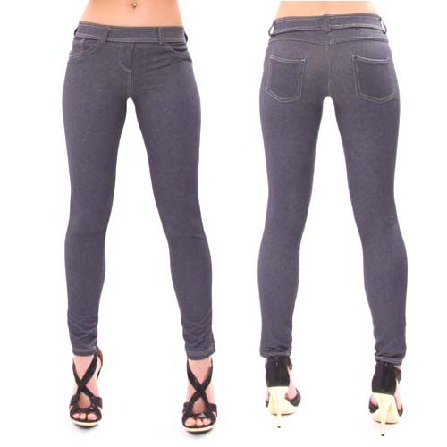 Jeggings are tight-fitting, like leggings, but are made either from a denim and spandex blend or synthetic fabrics made to look like denim. At times, designers go as far as to add details like faux pockets, belt loops or cuffs, but many times jeggings are streamlined with a simple elastic waistband.