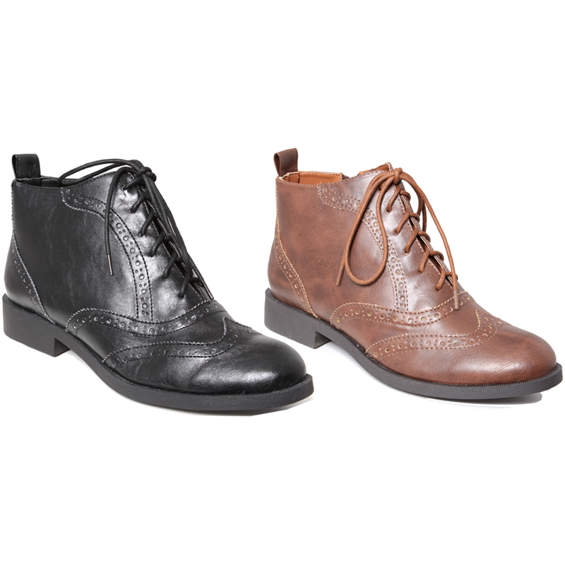 NEW-WOMENS-PU-LEATHER-BROGUE-DETAIL-ZIP-ANKLE-BOOTS-3-8