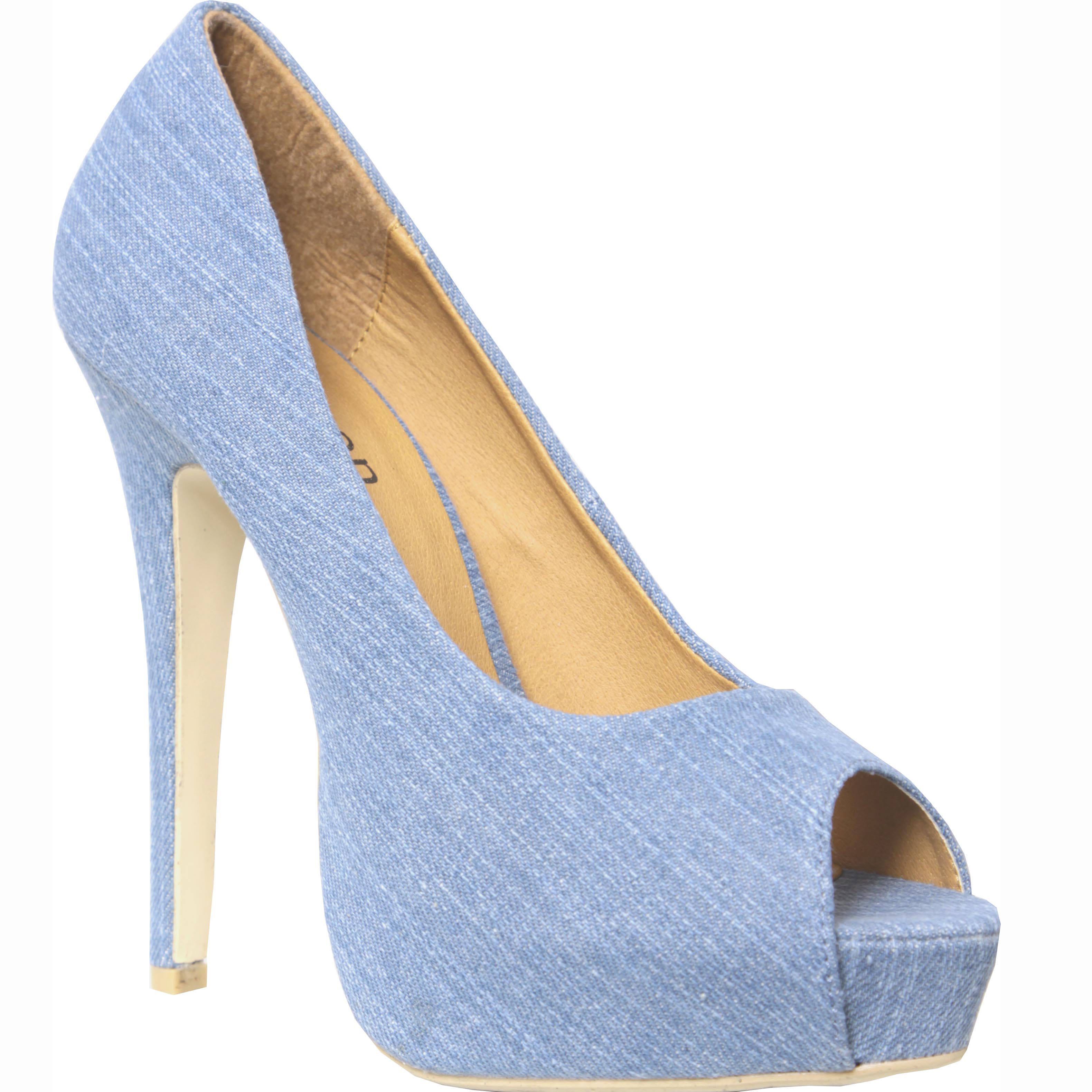 new womens blue denim platform heel shoes sz 4 8