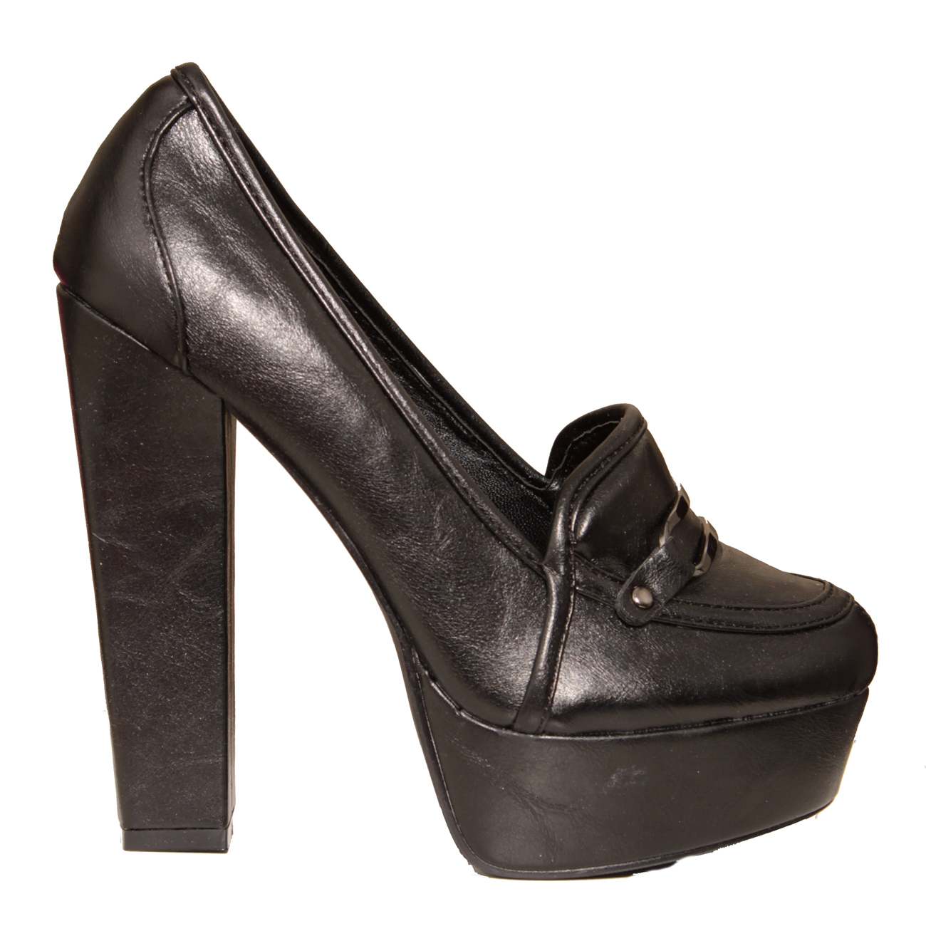 A pair of women's Gucci black patent leather horse bit high-heeled loafers, in a size AA. These designer shoes feature black patent leather uppers, almond toes, brass horse bit accents to the vamps, leather insoles and