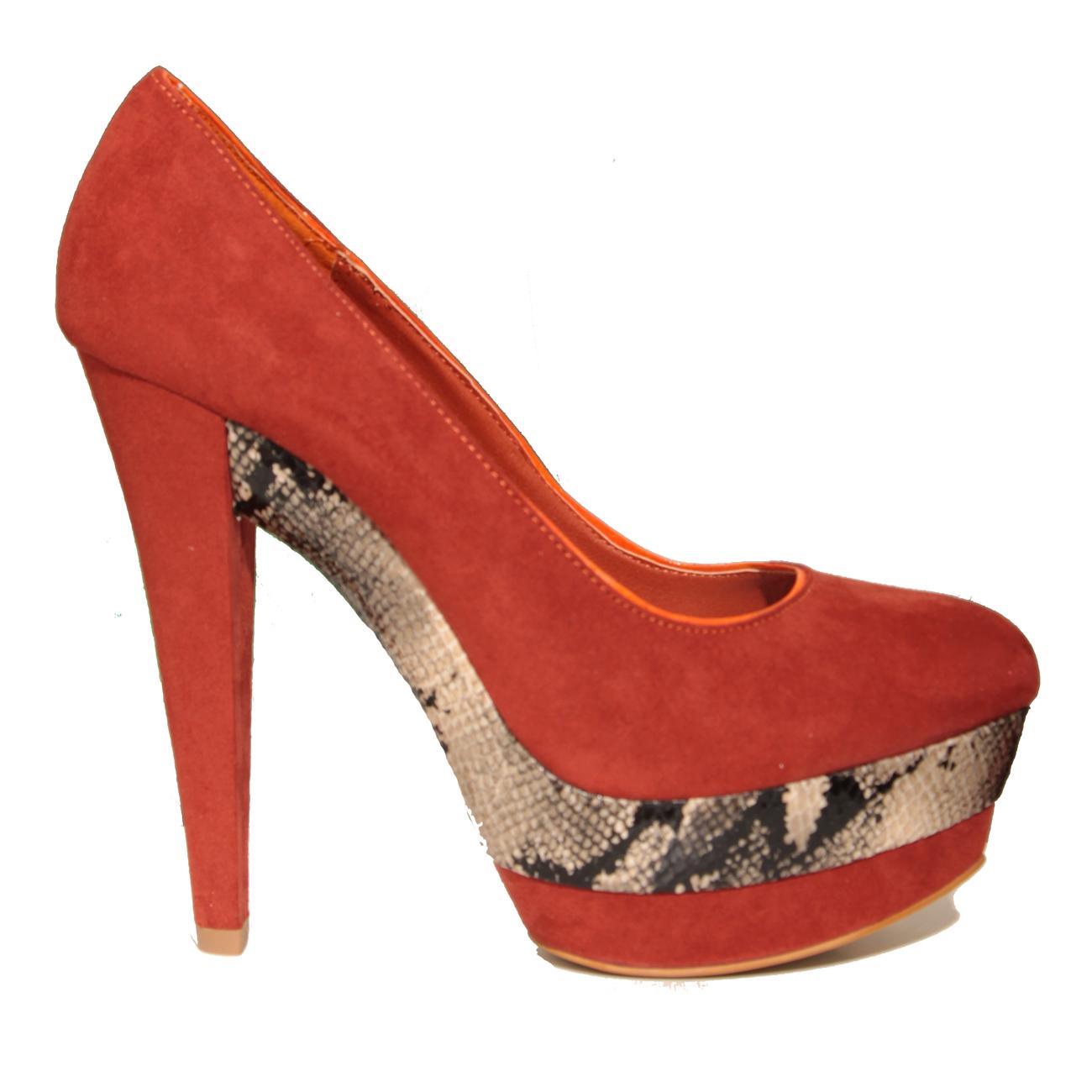 new womens orange high heel snakeskin shoe size 3 8 ebay. Black Bedroom Furniture Sets. Home Design Ideas