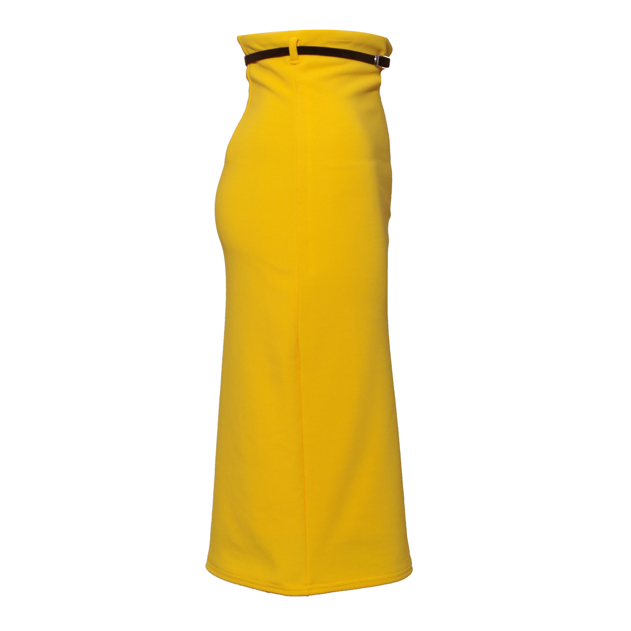 womens yellow midi length belted pencil skirt size 8 14 ebay