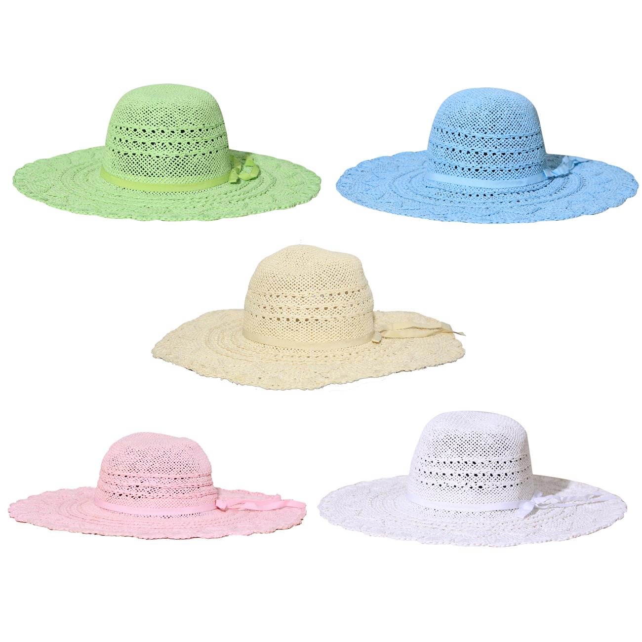 new womens straw wide brim floppy sun hat one size ebay