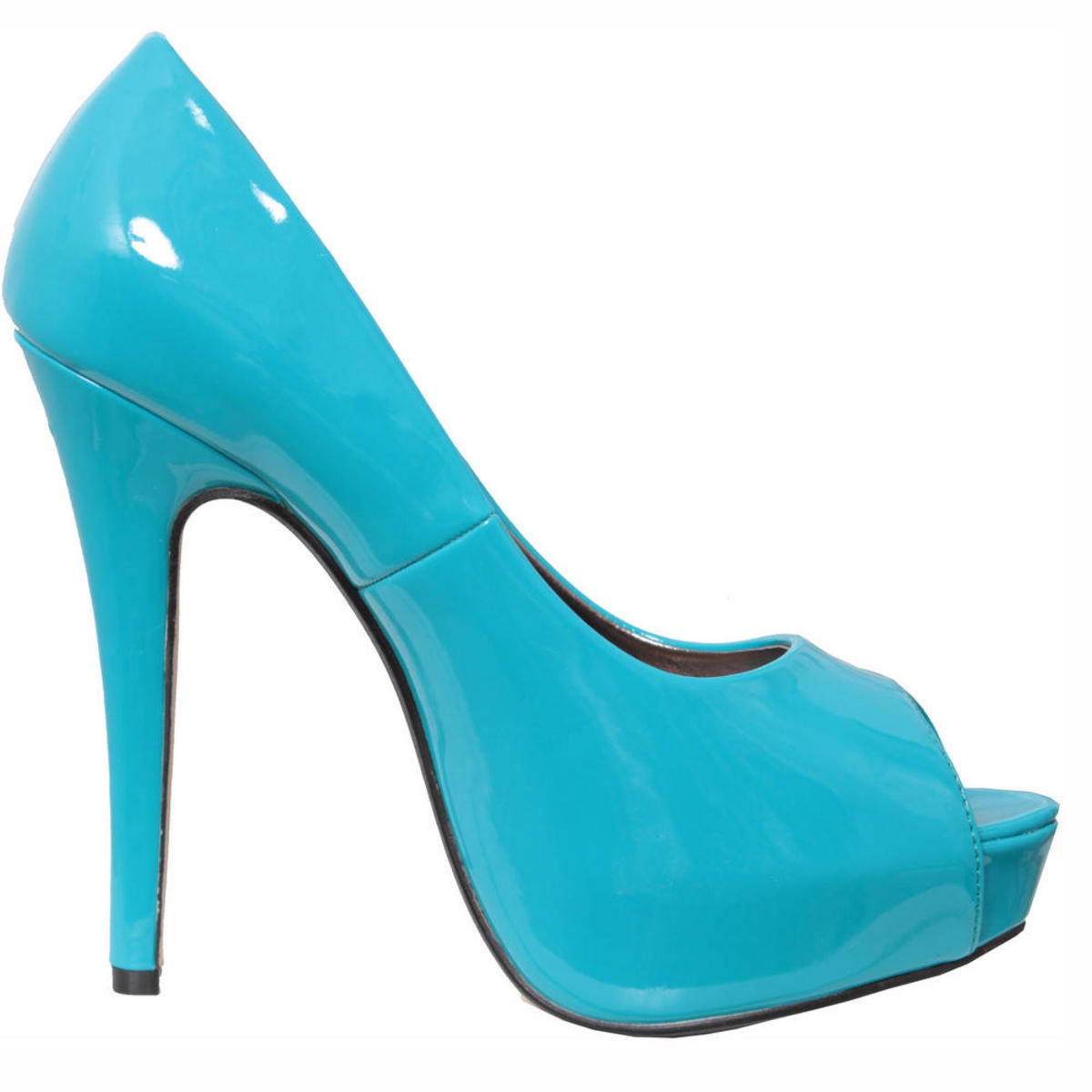 SIZE 3 ONLY Turquoise Patent Peeptoe Platform Shoe Preview
