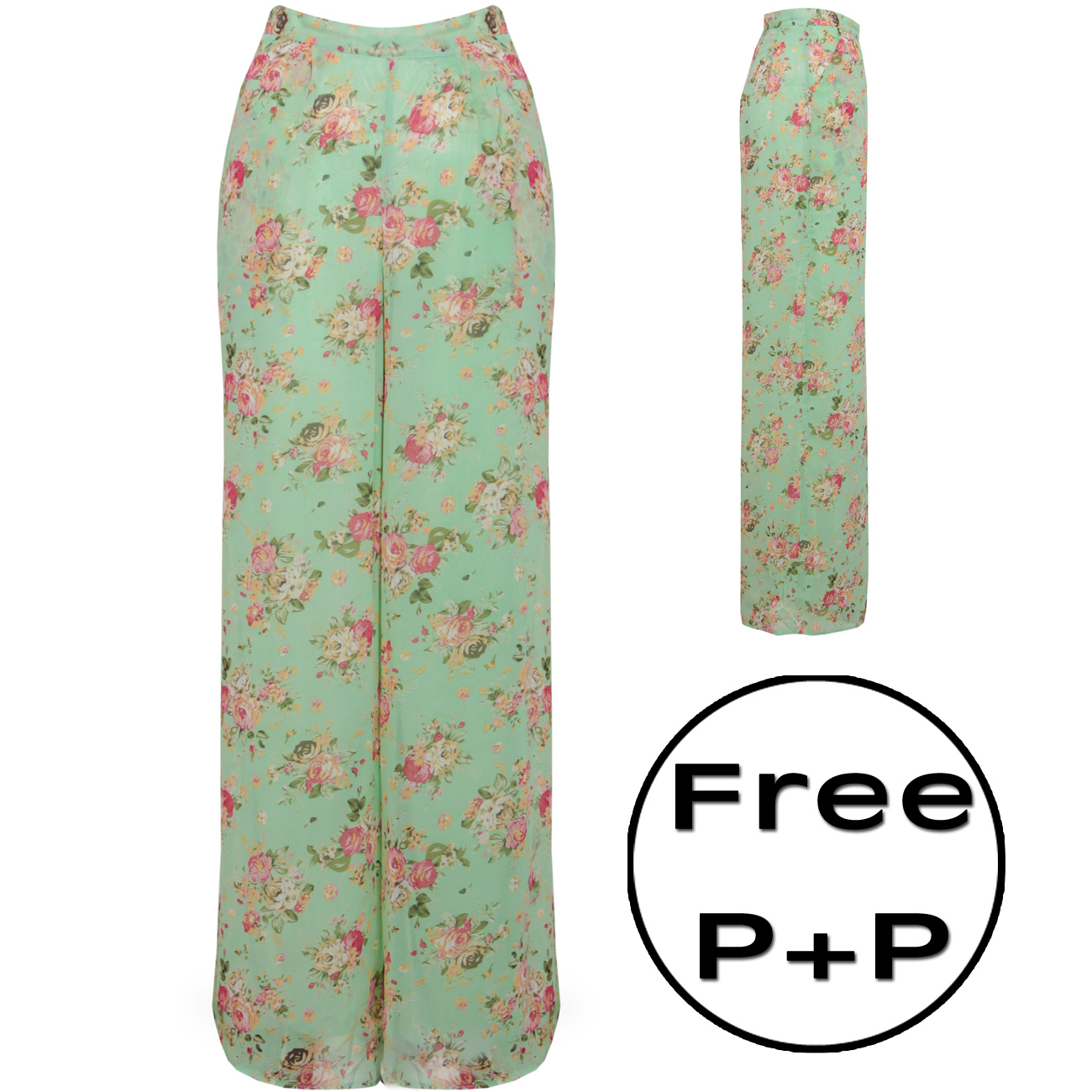 NEW WOMENS MINT HIGH WAISTED FLORAL PALAZZO SZ 8-16 Enlarged Preview