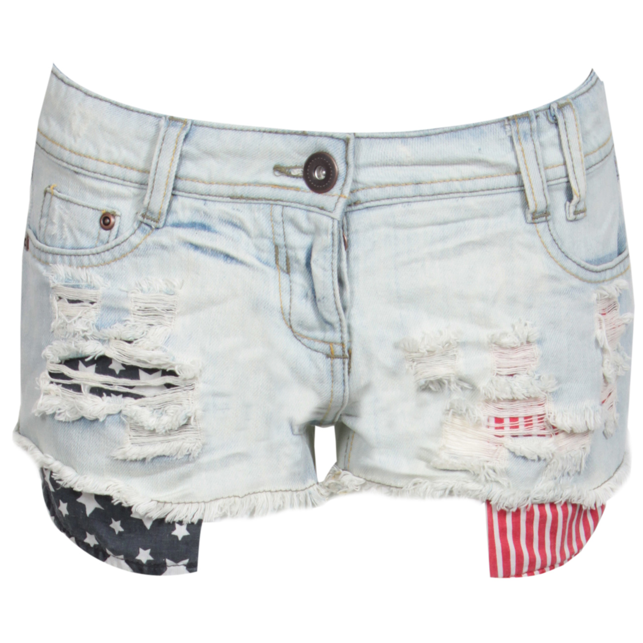 NEW WOMENS AMERICAN FLAG STONE WASH DENIM SHORTS DISTRESSED USA 6 ...