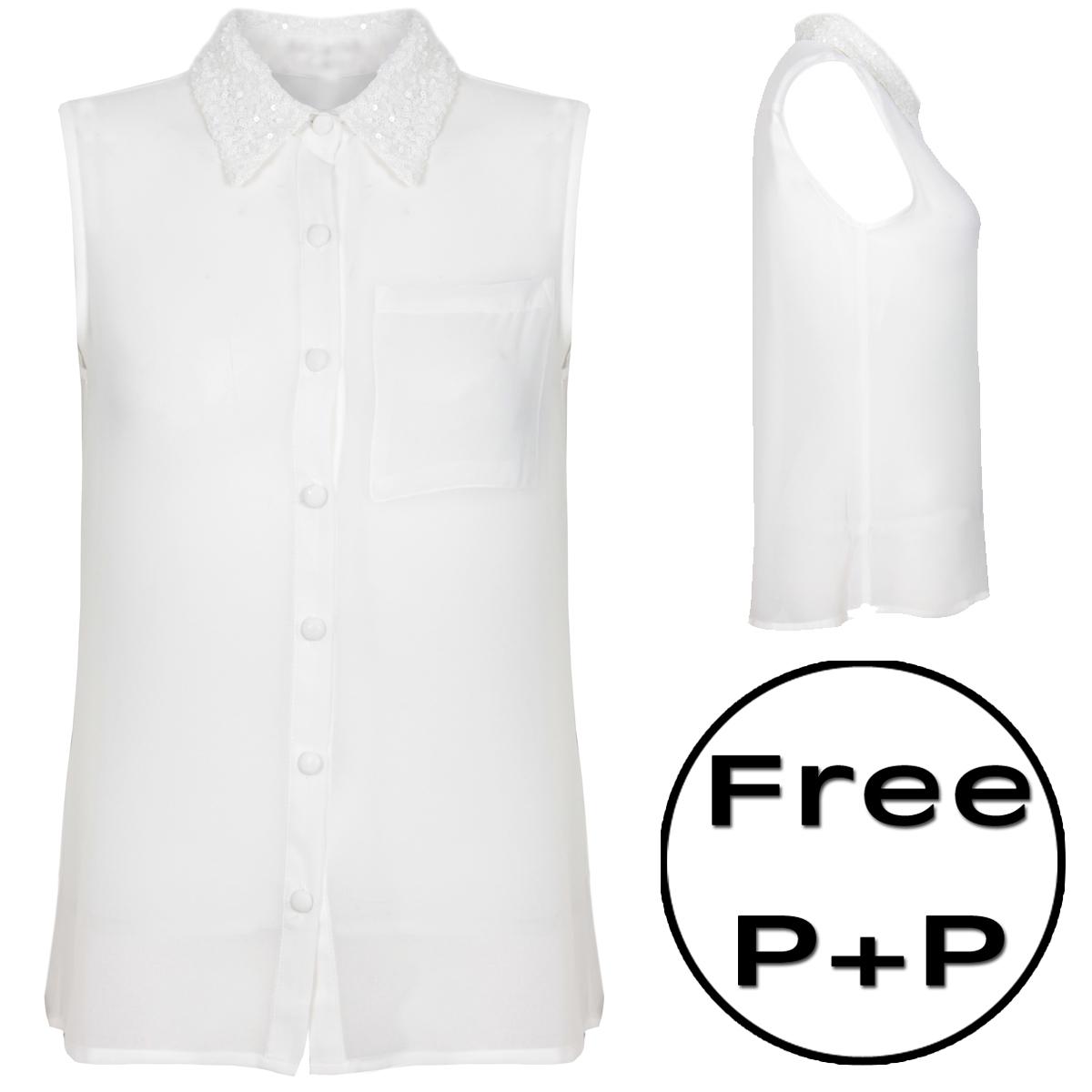 New womens white sleeveless sequin collar shirt sz 8 14 ebay for Sleeveless white shirt with collar