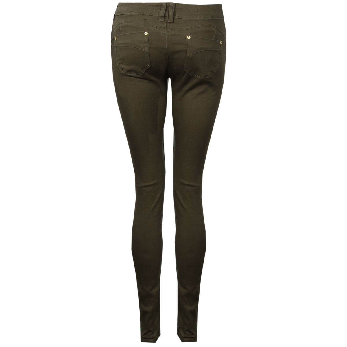 Original NEW LADIES COMBAT SKINNY FIT JEANS WOMEN ZIP CARGO KHAKI TROUSERS SLIM