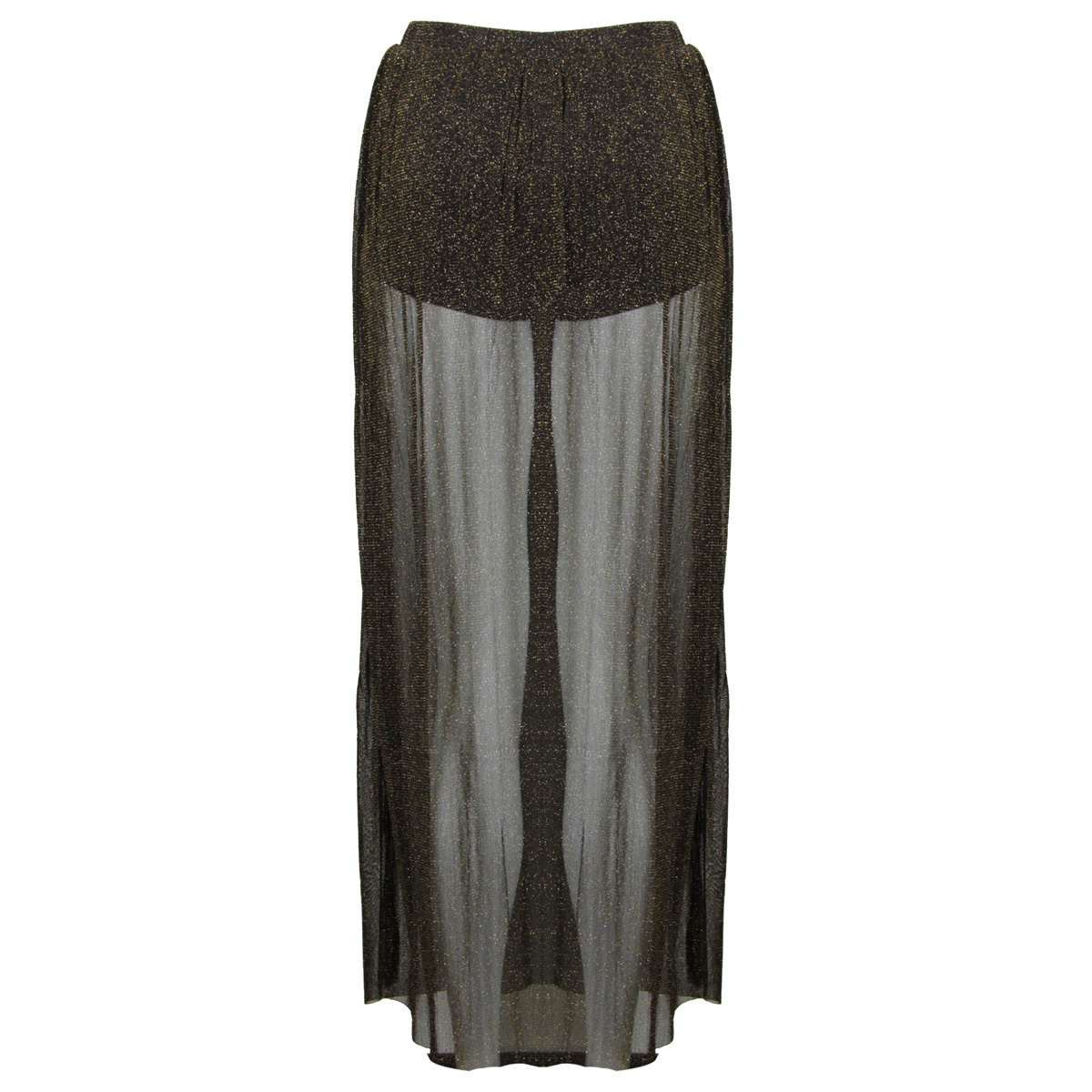 new womens black gold glitter maxi skirt elasticated waist