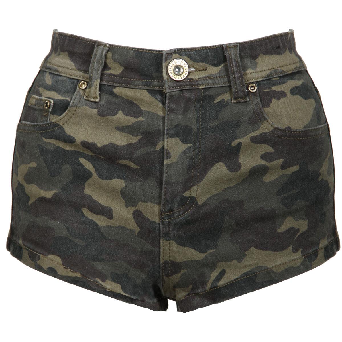 High waisted khaki shorts for women