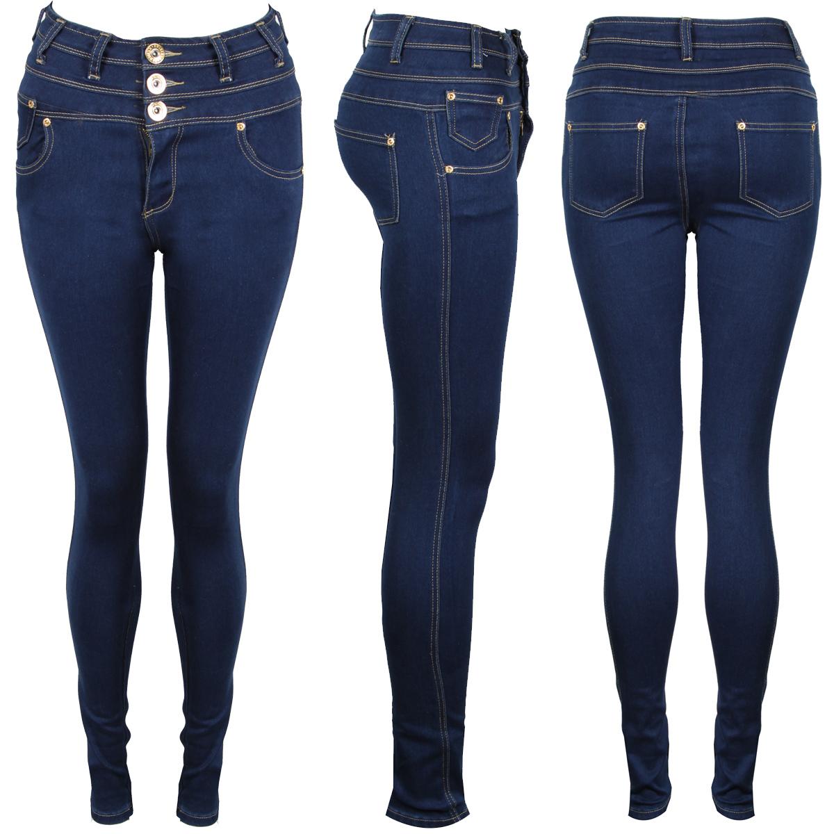 new womens blue denim super skinny high waist button up jeans 6 8 10 12 14 ebay. Black Bedroom Furniture Sets. Home Design Ideas