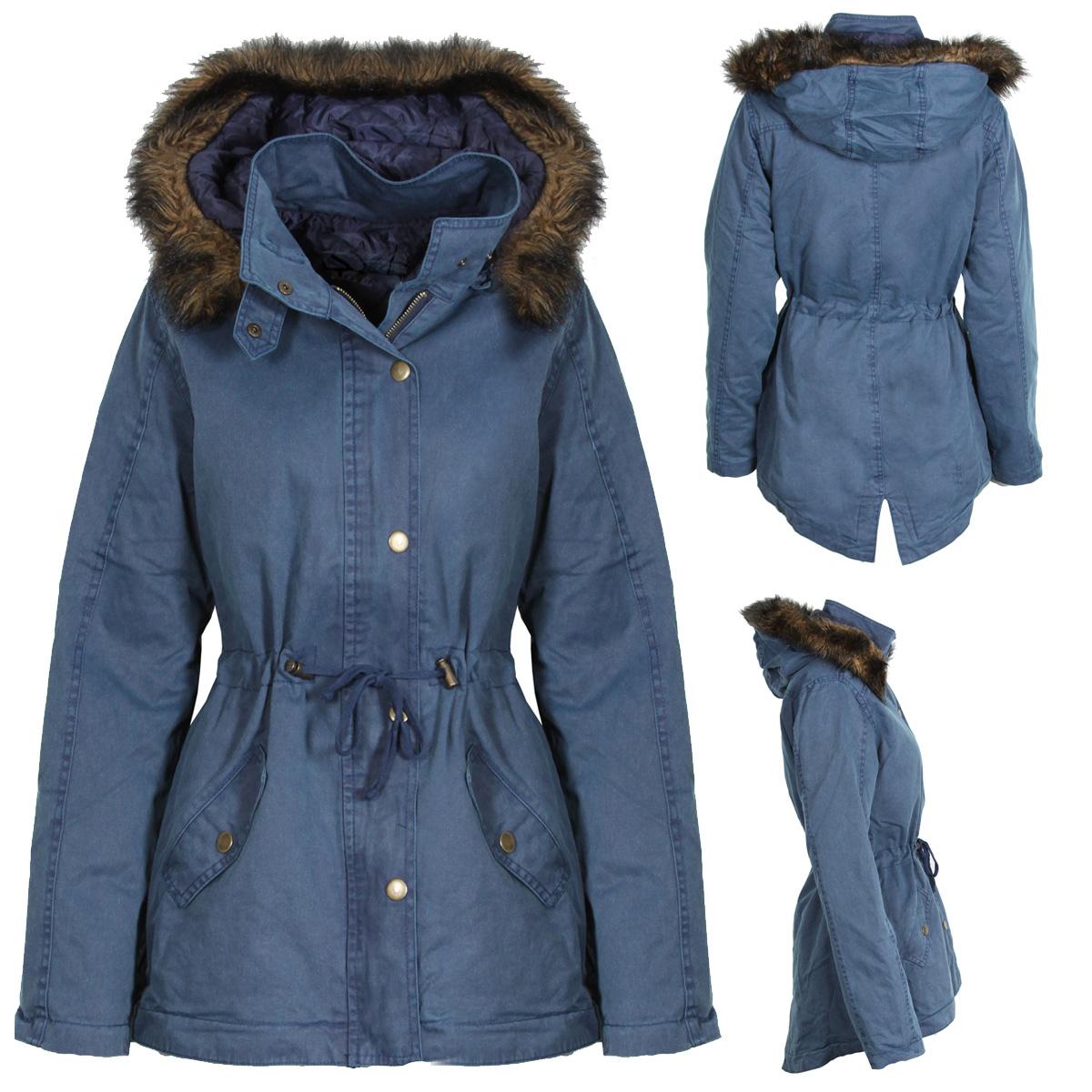 new womens blue parka winter coat jacket warm fur trim. Black Bedroom Furniture Sets. Home Design Ideas